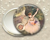 ballet dancer pocket mirror,  ballerina art hand mirror, gift for ballet dancer, mirror for purse, bridesmaid gift for her MIR-967