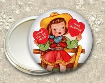 Be my valentine pocket mirror,  valentines day gift, school valentine hand mirror, mirror for purse, bridesmaid gift  MIR-1364