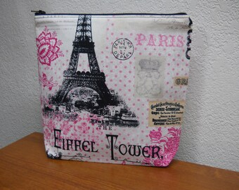 FRENCH Pink French Make Up Bag /  Eiffel Tower / Pouch / Paris Make Up Bag / Travel case / Cosmetic Bag / Fun Gift Idea