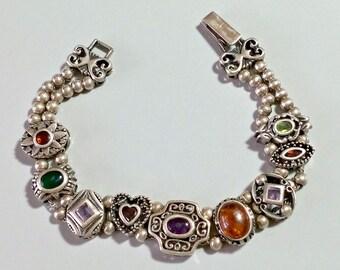 Multi Stone Bracelet Slider Charms Slider Bracelet Victorian Revival Vintage Amethyst Garnet Peridot Amber Chalcedony Ruby Inlaid stones