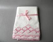 Vintage  Pillowcases Crochet trim, pillowcases pink crocheted trim