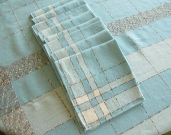 Vintage Aqua Tablecloth Napkin Set, Midcentury, Plaid