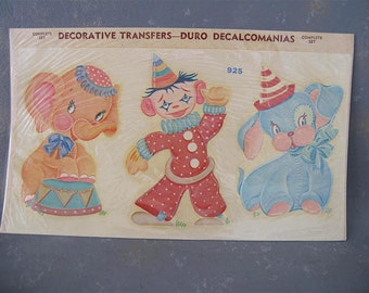 Vintage Circus Decals, 50s, Animals, Nursery Decor, Child's room, Duro, juvenile, Circus, clown, elephant, dog