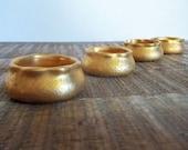 Set of Four Vintage German Porcelain Golden Salt Cellar Dips