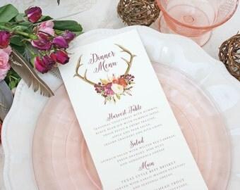 Wedding Menu Cards with Boho Antler Floral Design - Rustic Wedding Menu - Antler Menu Cards - Wedding Reception Menu - Fall Wedding Menus
