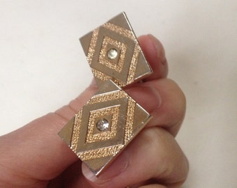 SWANK Retro Rhinestone Gold Tone Cufflinks – 1960s Man jewelry