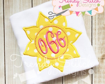 Sun 1 Monogram Applique Design Machine Embroidery Design INSTANT DOWNLOAD Patch Frame