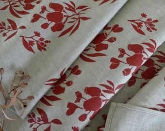 Linen Table Runner, Hand Screen Printed Red&Natural Gumnut Print