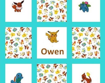 Custom Embroidered Pokemon Baby / Toddler Quilt -choose the fabrics -Crib Bedding available - Payment Plan available