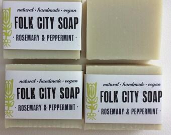 Folk City Rosemary & Peppermint Soap: handmade, natural, vegan