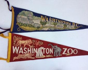 Mid-Century Washington D.C. Souvenir Pennants