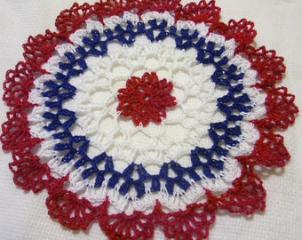 patriotic crocheted doily original design 4th of JULY