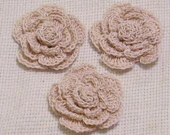 3 roses flowers ecru natural appliques scrapbooking sewn on home decor handmade embellishments