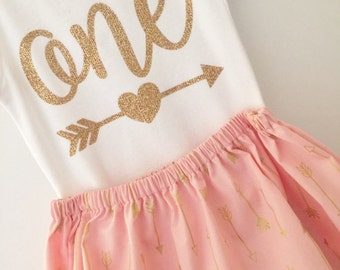 One Birthday Outfit; baby girl gold and blush 'one' outfit; onesie and skirt for first birthday