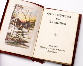 Great Thoughts From Longfellow Antique Leather Book