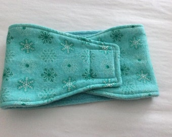 Dog Diaper - Male Dog Diaper - Dog Belly Band - Light Green Flannel Snowflakes - Available in all Sizes