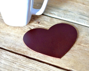 Leather Heart Shaped Coasters - set of 4 heart coasters in the color of your choice!