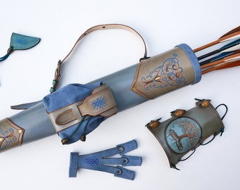 "Archery Leather Set - Tooled Back Quiver, Arm Guard And A Shooting Glove ""Delicate Taupe & Blue"""