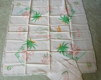 Vintage 40's Hawaii Map Tablecloth & 4 Napkins Wahine Fish State Island Souvenir WWII era
