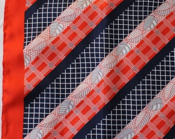 Vintage 60s Women's Red Navy White Stripes Leaves Design Square Silk Spring Summer Scarf