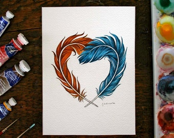 Orange and Blue feather heart - Original watercolor painting