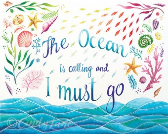 The Ocean is Calling Watercolor Print, Watercolor Art Print, Inspirational Quote, Beach Print, Ocean Art, Ocean painting, Beach House Decor