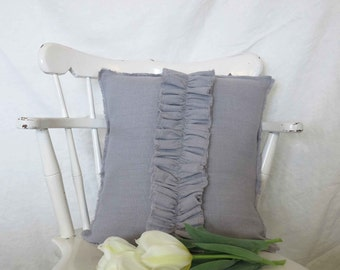 linen pillow, linen ruffle pillow, gray linen pillow, throw pillow,
