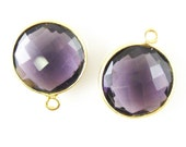 Bezel Gemstone Pendant-Amethyst Quartz -Faceted Round Charm-Gold Plated Vermeil Frame-Jewelry Charms-Gem Pendant-14mm- 201102-AMQ - (1 pc)
