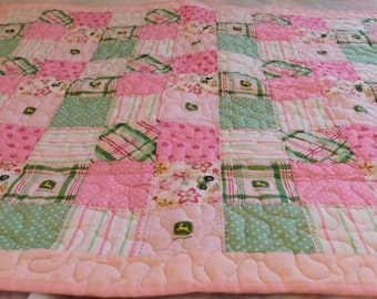 Handmade Pink Green Tractor Toddler Quilt, Toddler Bed, Crib Size Quilt, Comforter, tractor, country life, baby shower gift, flower print