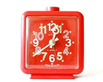 25% OFF ON SALE Vintage mechanical alarm clock Vitjaz from Russia Soviet Union