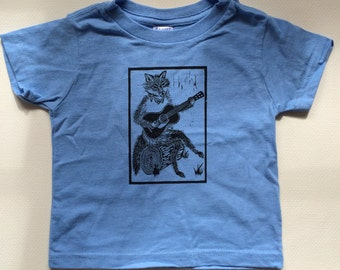 Toddler Tee - All Cotton Light Blue Hand Screen Printed with a Fox Playing Guitar