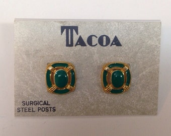Vintage TACOA green and gold enamel earrings / pierced studs / new on card