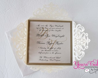 Ivory and Gold Square Laser Cut Wedding Invitation Suite Custom in your colors