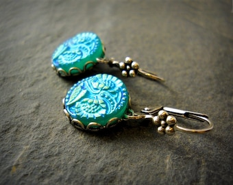 Rare Vintage Bohemia Glass Cabochon Earrings Iridescent Vivid Teal Aqua Blue Green Czech Carved Glass Dainty Flower Earrings Bohemian Glass