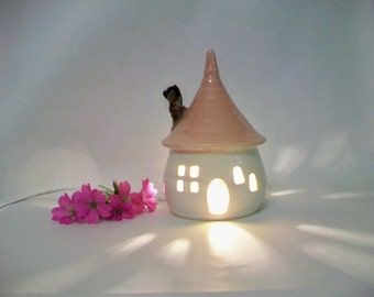 Garden Fairy House/ Night Light - with a Pink Roof, and a Chimney - Made by Hand on the Potters Wheel - Ready to Ship -- Actual House