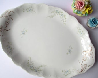 Antique Syracuse Serving Platter Blue and Green Floral Large - Weddings