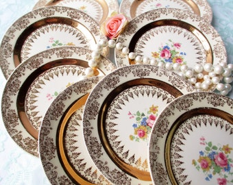 Vintage Homer Laughlin Gold Floral Bread and Butter Plates Set of Eight