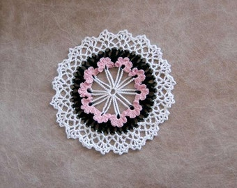 Pink Violets Crochet Lace Doily, Table Accent, Crocheted Flowers, Cottage Chic Home Decor