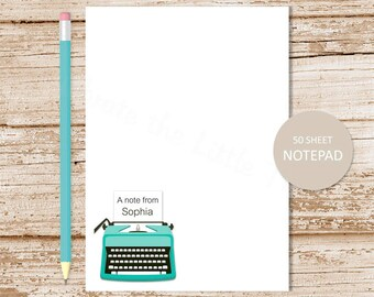 personalized tyepwriter notepad . vintage typewriter note pad . personalized stationery . stationary notepad