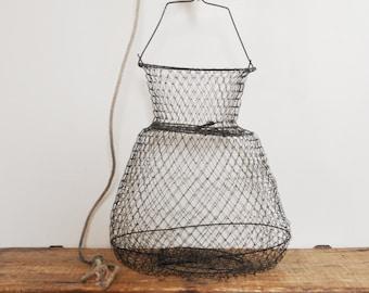 Vintage Wire Fishing Basket Hanging Storage Display Collapsible