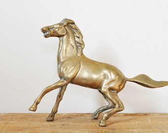 Vintage Brass Horse Statue Stallion Figurine Western Home Decor Display