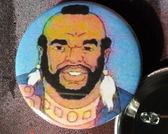 retro style Mr T 2-1/4inch pinback button hand pressed 80s 1980s buttons badges saturday morning cartoons