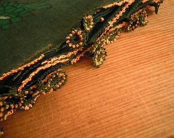 vintage turkish scarf with needle lace trim, green cotton oya flower