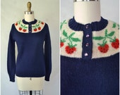 vintage sweet strawberry sweater / navy wool pullover sweater / small medium large