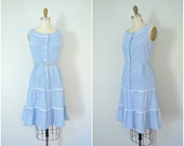 1950s misses dorothy gingham dress // blue and white checked cotton day girl dress // small extra small