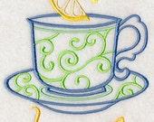Flour Sack Towel / Quilt Block - Taste of Tea Embroidery Design