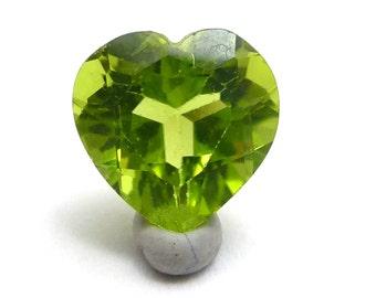Peridot Heart 7mm Loose Gemstone August Birthstone Handmade Hand Cut Natural AAA Grade - Acid Green