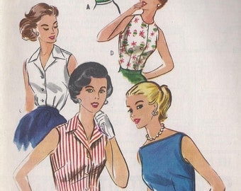 Vintage 1950's Sleeveless Fitted Blouse Pattern, Neckline Options, McCalls 3973