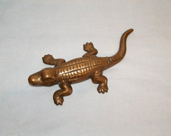 Alligator Bronze Signed Match Safe, Match Striker, Tobacciana, Trinket Box, 420  ~ Dated 1961