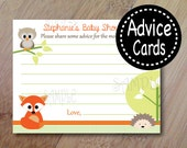 Spring Family, Forest Animal Baby Shower Advice Cards Set of 12, Baby Shower or Bridal Shower, Forest Advice Cards, Owl Baby shower